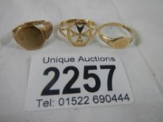 3 gold rings (1 a/f) total weight 4 grams.