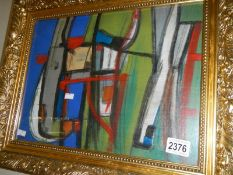 A framed and glazed 20th century Newlyn school acrylic and pencil on board abstract forms inscribed