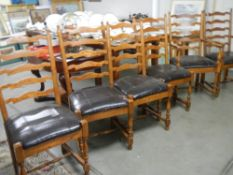 A good set of 6 oak ladder back chairs comprising 2 carvers and 4 diners.