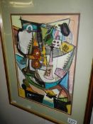 A framed and glazed 20th century British school goauch and pencil on paper abstract table top still