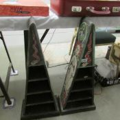 A pair of hand painted pyramid shaped display shelves.