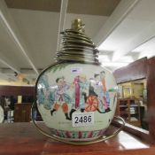 A 1920's oriental ceramic table lamp base.