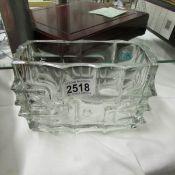 An original Bohemian brick shaped glass vase.