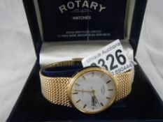 A good quality Rotary watch in yellow metal, in working order.