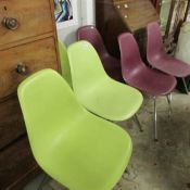 6 retro stacking chairs.
