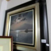 An oil on canvas moonlight lake scene signed Kurtis and inscribed verso Andrew Grant Kurtis M.