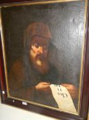 A late 19th century Spanish school oil on canvas portrait of Saint Francis of Paola,
