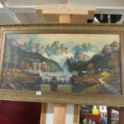 An oil on canvas mountain scene, signed but indistinct.