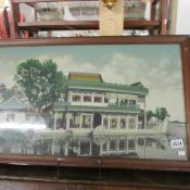 A framed and glazed fabric picture.