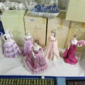 5 boxed coalport figurines including Bolero, Jaqueline, Anthea etc.