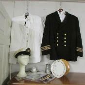 A collection of Merchant Navy and Royal Mail line memorabilia including chief engineer undress