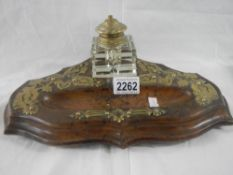 A good Victorian ink stand complete with original glass inkwells.