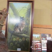 An oil painting of a cat entitled 'Toby', signed and dated David Waller 8.3.