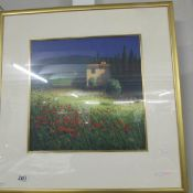 An oil painting of a French rural scene featuring poppies signed David Short.