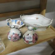 A Dresden dish, 2 Cobridge vases and a Royal Collection dish.