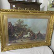 A gilt framed and glazed horse fair scene.