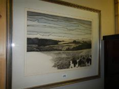 A good old landscape print of moorland with cattle.