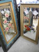 2 framed mirrors with painted floral decoration.