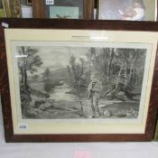 A framed and glazed print entitled Trout Fishing - The First Catch of the Season.