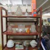 A mixed lot of lamp shades including etched oil lamp shade, oil lamp chimneys,