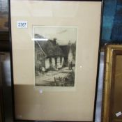 A framed and glazed Louis Whirter (1873-1932) etching entitled 'Burns' Masonic Lodge Tarbolton',