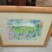 A framed and glazed painting entitled 'Ascot 1935' and signed Roaul Duly.