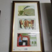 A Cornish school triptych abstract boat and harbour studies in acrylics and goauche.
