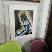 An unframed nude study.