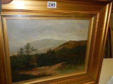 A gilt framed and glazed oil on canvas landscape signed A. J. Redfern, image 38 x 30 cm.