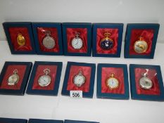 10 boxed contemporary pocket watches (all need batteries)