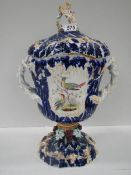 """A Victorian hand painted lidded vase, 17.5"""" tall, has 2 cracks (see images)."""