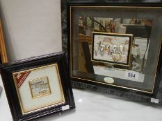 """2 Italian silver relief plaques of harbour scenes, large 14"""" x 13"""","""