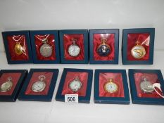 10 contemporary gents pocket watches (all need batteries).