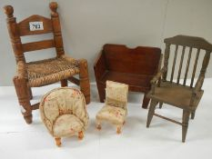 A mixed lot of Victorian and later dolls furniture including chair, monks bench,