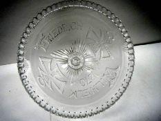 A late 19th century Henry Greener Flint pressed glass bowl commemorating Freidrich Wilhelm 1870.