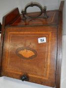 An Edwardian inlaid coal box with shovel.