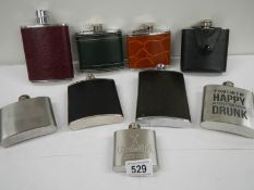 9 20th century hip flasks (6 leather coloured,
