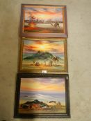 3 Egyptian scene oils on canvas featuring camels.