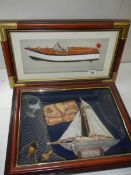 """2 framed and glazed nautical related collages, 21"""" x 12"""" and 18"""" x 15""""."""