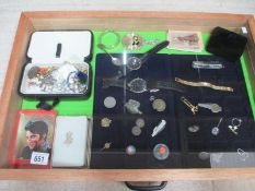 A display case containing assorted watches and jewellery etc., (this lot is buyer collect only).