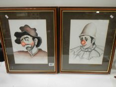 """A pair of framed and glazed watercolour studies of clowns, approximately 20"""" x 16""""."""