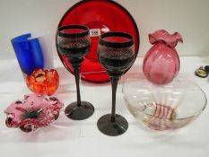 8 items of glass ware including studio glass.