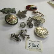 12 assorted brooches.