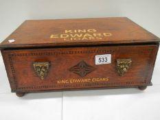 A King Edward cigar box with brass handles