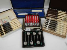 6 assorted cutlery sets including 2 with wedding present cards.