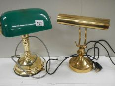 2 bankers style desk lamps, one being all brass and the other with green plastic shade.