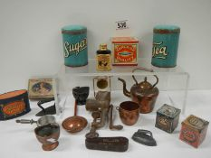 A mixed lot of interesting advertising tins and many pieces of old miniature kitchen ware.