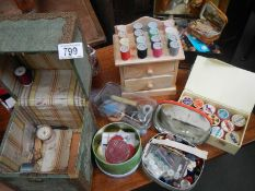 A mixed lot of vintage haberdashery, cottons etc.