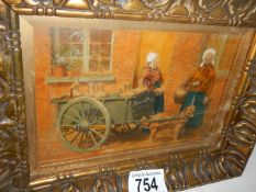 A late 19th century oil on board depicting 2 ladies with a dog cart,