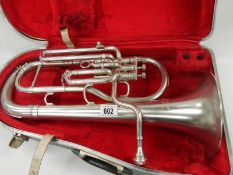 """A Boosey & Hawkes Imperial silver plated Baritone horn, 20"""" long , in good condition."""